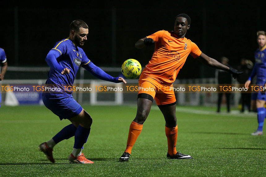 Louie Theophanous of Romford and Zak Pianim of Brentwood during Romford vs Brentwood Town, BetVictor League North Division Football at Parkside on 11th February 2020