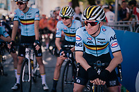 Remco Evenepoel (BEL) at the race start<br /> <br /> MEN JUNIOR ROAD RACE<br /> Kufstein to Innsbruck: 132.4 km<br /> <br /> UCI 2018 Road World Championships<br /> Innsbruck - Tirol / Austria