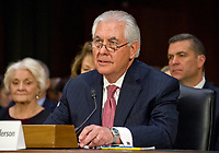 ***FILE PHOTO*** Trump Fires Tillerson As secretary Of State<br /> Rex Wayne Tillerson, former chairman and chief executive officer of ExxonMobil testifies before the United States Senate Committee on Foreign Relations considering his nomination of to be Secretary of State of the US on Capitol Hill in Washington, DC on Wednesday, January 11, 2017.<br /> CAP/MPI/CNP/RS<br /> &copy;RS/CNP/MPI/Capital Pictures