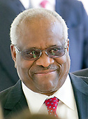 Associate Justice of the United States Supreme Court Clarence Thomas on the Colonnade as he arrives for the Oath of Office ceremony for new Associate Justice of the US Supreme Court Neil Gorsuch in the Rose Garden of the White House in Washington, DC on Monday, April 10, 2017.<br /> Credit: Ron Sachs / CNP<br /> (RESTRICTION: NO New York or New Jersey Newspapers or newspapers within a 75 mile radius of New York City)