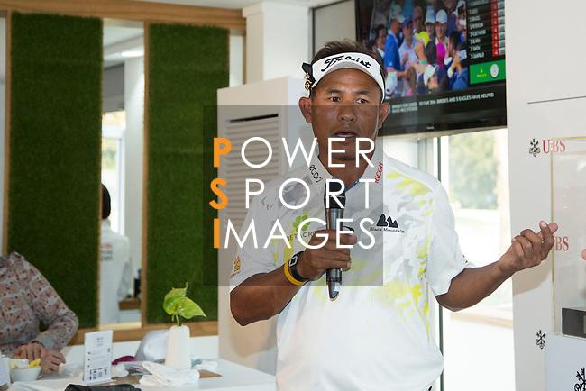 Thongchai Jaidee of Thailand visits the UBS Pavilion during the 58th UBS Hong Kong Golf Open as part of the European Tour on 08 December 2016, at the Hong Kong Golf Club, Fanling, Hong Kong, China. Photo by Vivek Prakash / Power Sport Images