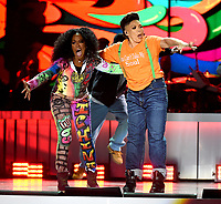 LAS VEGAS, NEVADA - NOVEMBER 17: Tichina Arnold (L) and Tisha Campbell perform onstage during the 2018 Soul Train Awards at the Orleans Arena on November 17, 2018 in Las Vegas, Nevada. (Photo by Frank Micelotta/PictureGroup)