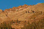 Sunset light on mountain peaks at Mineral King, Sequoia National Park, California