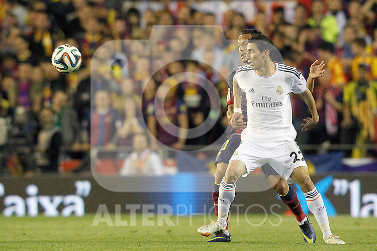 FC Barcelona's Adriano Correia (b) and Real Madrid's Angel Di Maria during spanish KIng's Cup Final match.April 16,2014. (ALTERPHOTOS/Acero)