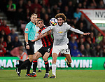 Dan Gosling of Bournemouth tackles Marouane Fellaini of Manchester United during the premier league match at the Vitality Stadium, Bournemouth. Picture date 18th April 2018. Picture credit should read: David Klein/Sportimage