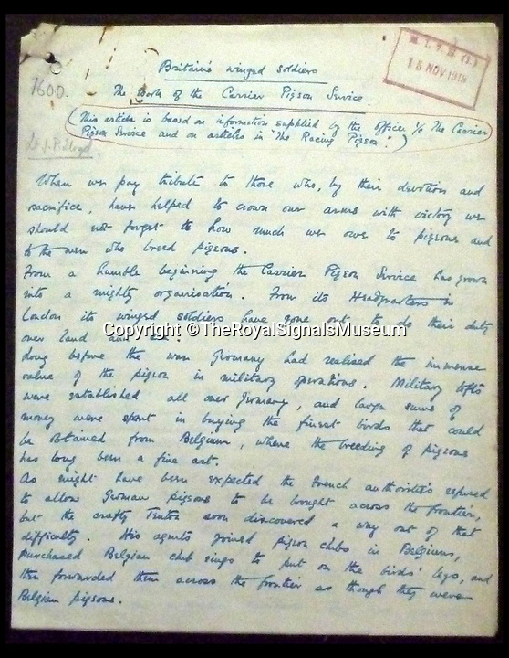 BNPS.co.uk (01202 558833)Pic: The RoyalSignalsMuseum/BNPS<br /> <br /> A letter paying tribute to the VC pigeon.<br /> <br /> The heroism of a plucky World War One carrier pigeon that delivered a vital message despite being mortally wounded by a German sniper has come to light 100 years since its death.<br /> <br /> Recently unearthed papers found in a house clearance document the full story of the brave bird who earned the name 'VC Pigeon' after he gallant but fatal feat.<br /> <br /> So revered was the pigeon by the loftsmen of the Western Front they had him stuffed. He is now on display at the Royal Signals Museum in Blandford, Dorset.<br /> <br /> The museum has also received the first hand account of the last moments of VC Pigeon which they are also displaying.