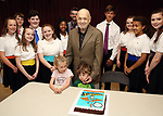 Charles Strouse with grandchildren and Performers and company celebrating his 90th Birthday during the Children's Theatre of Cincinnati presentation for composer Charles Strouse of 'Superman The Musical' at Ripley Grier Studios on June 8, 2018 in New York City.