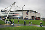 Bolton Wanderers 1  Blackburn Rovers 2, 17/03/2007. Reebok Stadium, Premiership. Fans arriving at the stadium before Bolton Wanderers take on Blackburn Rovers in a Premiership match at the Reebok stadium. The home side were challenging for one of the Champions' League placings but it was Rovers who ran out 2-1 winners. Both Rovers' goals were scored from the penalty spot by Benni McCarthy. Picture shows the stadium in the rain before kick-off. Photo by Colin McPherson.