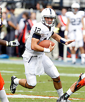 Penn State quarterback Steven Bench (12) runs with the ball during an NCAA college football game against Virginia in Charlottesville, Va. Virginia defeated Penn State 17-16.