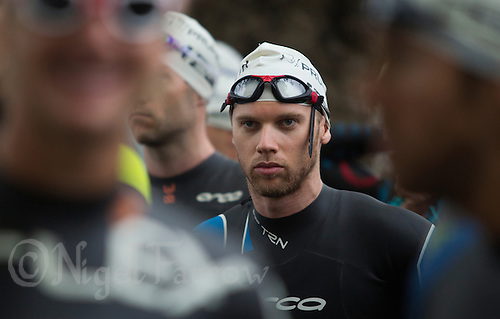 13 SEP 2013 - LONDON, GBR - A competitor waits for the start of his wave at the ITU 2013 World Age Group Sprint Distance Triathlon Championships in Hyde Park in London, Great Britain (PHOTO COPYRIGHT © 2013 NIGEL FARROW, ALL RIGHTS RESERVED)