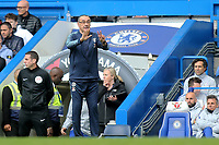 Chelsea Manager, Maurizio Sarri, makes a gesture towards goalkeeper, Kepa Arrizabalaga during Chelsea vs Watford, Premier League Football at Stamford Bridge on 5th May 2019
