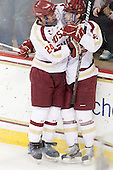 Bill Arnold (BC - 24), Paul Carey (BC - 22) - The Boston College Eagles defeated the University of Massachusetts-Amherst Minutemen 3-2 to take their Hockey East Quarterfinal matchup in two games on Saturday, March 10, 2012, at Kelley Rink in Conte Forum in Chestnut Hill, Massachusetts.