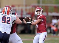 NWA Democrat-Gazette/BEN GOFF @NWABENGOFF<br /> Brandon Allen, Arkansas quarterback, throws a pass on Saturday Sept. 5, 2015 during the first quarter of the game in Razorback Stadium in Fayetteville.