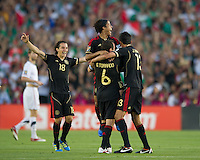 Pasadena, CA - June 25, 2011: Mexico players celebrate after winning  the 2011 CONCACAF Gold Cup Championships, at the Rose Bowl 4-2 over the United States.