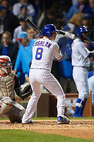 Chicago Cubs pinch hitter Chris Coghlan (8) bats in the fifth inning during Game 4 of the Major League Baseball World Series against the Cleveland Indians on October 29, 2016 at Wrigley Field in Chicago, Illinois.  (Mike Janes/Four Seam Images)