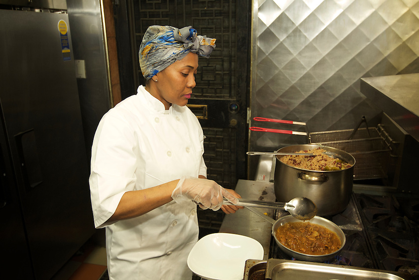 BROOKLYN, NY - Angela, the namesake chef at Angela's, a small West Indian restaurant on Nostrand Avenue in Bedford-Stuyvesant.<br /> <br /> CREDIT: Clay Williams for the James Beard Foundation.<br /> <br /> &copy; Clay Williams / claywilliamsphoto.com
