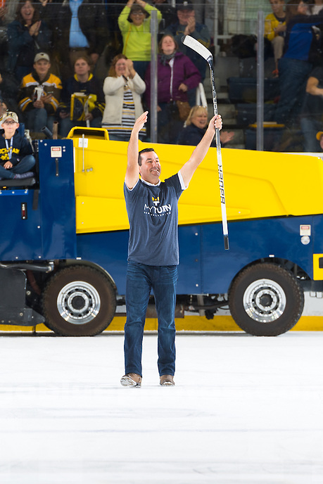 The University of Michigan men's ice hockey team,4-3 victory over  Michigan Tech at Yost Ice Arena in Ann Arbor, Mich., on Oct. 21, 2016.