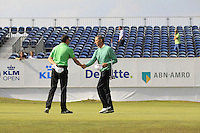 Peter Lawrie (IRL) &amp; Soren Hansen (DEN) on the 18th during Round 2 of the KLM Open at Kennemer Golf &amp; Country Club on Friday 12th September 2014.<br /> Picture:  Thos Caffrey / www.golffile