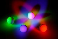 MIXING LIGHT PRIMARIES TO MAKE WHITE LIGHT<br /> (Variations Available)<br /> Additive color mixing based on light perception <br /> Red, blue and green lights are projected onto 3 white balls to intersect on a 4th. The beams cast shadows of the secondary colors, cyan, magenta and yellow and result in white light on the ball where all three overlap.