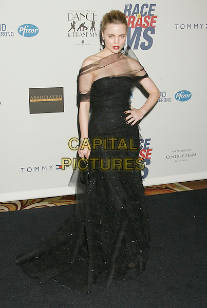 "MELISSA GEORGE.14th Annual Race to Erase MS Themed ""Dance to Erase MS"" held at the Century Plaza Hotel, Century City, California, USA, 13 April 2007..full length sheer black wrap dress red lisptick hand on hip.CAP/ADM/RE.©Russ Elliot/AdMedia/Capital Pictures."