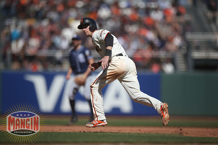 SAN FRANCISCO, CA - MAY 25:  Matt Duffy #5 of the San Francisco Giants runs the bases against the San Diego Padres during the game at AT&T Park on Wednesday, May 25, 2016 in San Francisco, California. Photo by Brad Mangin
