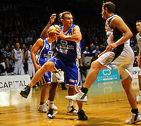 Saints centre Nick Horvath steals a rebound during the NBL Semifinal basketball match between the Wellington Saints and Nelson Giants at TSB Bank Arena, Wellington, New Zealand on Thursday, 12 June 2008. Photo: Dave Lintott / lintottphoto.co.nz