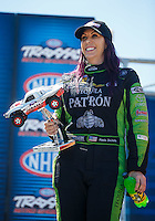 Sep 4, 2016; Clermont, IN, USA; NHRA funny car driver Alexis DeJoria during qualifying for the US Nationals at Lucas Oil Raceway. Mandatory Credit: Mark J. Rebilas-USA TODAY Sports