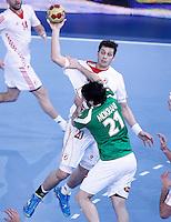 Algeria's Mohamed Aski Mokrani (r) and Croatia's Damir Bicanic during 23rd Men's Handball World Championship preliminary round match.January 14,2013. (ALTERPHOTOS/Acero) 7NortePhoto