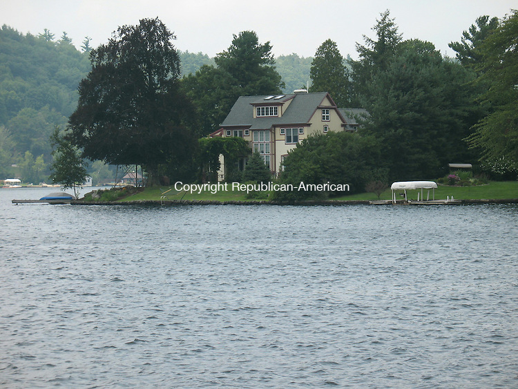 WINSTED, CT - 05 Aug. 2010 - 080510KM02 - This house at Wheelers Point along Highland Lake in Winsted sold recently for $1.1 million. It is the only house along the lake that has a sea plane base approved by the Federal Aviation Administration. Kurt Moffett Republican-American