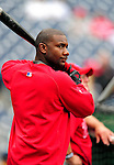 28 September 2010: Philadelphia Phillies' first baseman Ryan Howard awaits his turn in the batting cage prior to a game against the Washington Nationals at Nationals Park in Washington, DC. The Nationals defeated the Phillies 2-1 on an Adam Dunn walk-off solo homer in the 9th inning to even up their 3-game series one game apiece. Mandatory Credit: Ed Wolfstein Photo