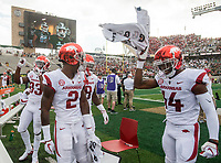 NWA Democrat-Gazette/BEN GOFF @NWABENGOFF<br /> Kamren Curl (2), Arkansas strong safety, and defensive back Brito Tutt (14) hype the crowd before the game vs Colorado State Saturday, Sept. 8, 2018, at Canvas Stadium in Fort Collins, Colo.