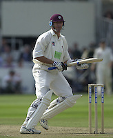 Photo Peter Spurrier.31/08/2002.Cheltenham & Gloucester Trophy Final - Lords.Somerset C.C vs YorkshireC.C..Somerset batting;   Andy Caddick.