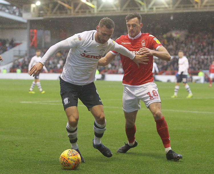 Preston North End's Louis Moult battles with  Nottingham Forest's Jack Robinson<br /> <br /> Photographer Mick Walker/CameraSport<br /> <br /> The EFL Sky Bet Championship - Nottingham Forest v Preston North End - Saturday 8th December 2018 - The City Ground - Nottingham<br /> <br /> World Copyright © 2018 CameraSport. All rights reserved. 43 Linden Ave. Countesthorpe. Leicester. England. LE8 5PG - Tel: +44 (0) 116 277 4147 - admin@camerasport.com - www.camerasport.com