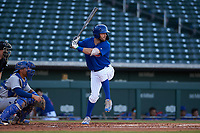 AZL Cubs 1 Zac Taylor (83) at bat in front of catcher Omar Hernandez (12) during an Arizona League game against the AZL Royals on June 30, 2019 at Sloan Park in Mesa, Arizona. AZL Royals defeated the AZL Cubs 1 9-5. (Zachary Lucy/Four Seam Images)