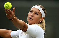 Dominika Cibulkova (SVK) during her defeat by Jelena Ostapenko (LAT) in their Ladies' Quarter Final match<br /> <br /> Photographer Rob Newell/CameraSport<br /> <br /> Wimbledon Lawn Tennis Championships - Day 8 - Tuesday 10th July 2018 -  All England Lawn Tennis and Croquet Club - Wimbledon - London - England<br /> <br /> World Copyright &not;&copy; 2017 CameraSport. All rights reserved. 43 Linden Ave. Countesthorpe. Leicester. England. LE8 5PG - Tel: +44 (0) 116 277 4147 - admin@camerasport.com - www.camerasport.com