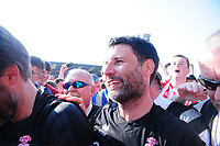 Lincoln City manager Danny Cowley celebrates securing the League 2 Title<br /> <br /> Photographer Andrew Vaughan/CameraSport<br /> <br /> The EFL Sky Bet League Two - Lincoln City v Tranmere Rovers - Monday 22nd April 2019 - Sincil Bank - Lincoln<br /> <br /> World Copyright © 2019 CameraSport. All rights reserved. 43 Linden Ave. Countesthorpe. Leicester. England. LE8 5PG - Tel: +44 (0) 116 277 4147 - admin@camerasport.com - www.camerasport.com