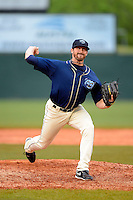 Mobile BayBears pitcher Bo Schultz #30 during a game against the Pensacola Blue Wahoos on April 14, 2013 at Hank Aaron Stadium in Mobile, Alabama.  Mobile defeated Pensacola 5-2.  (Mike Janes/Four Seam Images)