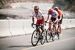 The breakaway group Darwin Atapuma (COL) Cofidis, Ian Boswell (USA) Katusha Alpecin, Nathan Van Hooydonck (BEL) CCC Team climb during Stage 4 of 10th Tour of Oman 2019, running 131km from Yiti (Al Sifah) to Oman Convention and Exhibition Centre, Oman. 19th February 2019.<br /> Picture: ASO/P. Ballet | Cyclefile<br /> All photos usage must carry mandatory copyright credit (&copy; Cyclefile | ASO/P. Ballet)