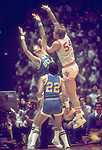 27 MAR 1976:  UCLA center Ralph Drollinger (35) trys to block Indiana center Kent Benson (54) during the NCAA Men's National Basketball Final Four semifinal game held in Philadelphia, PA at the Spectrum. Indiana defeated UCLA 65-51 to meet Michigan in the championship game. UCLA guard Raymond Townsend (22) in forground. Benson was named MVP for the tournament. Photo by Rich Clarkson/NCAA Photos.SI CD1647-42