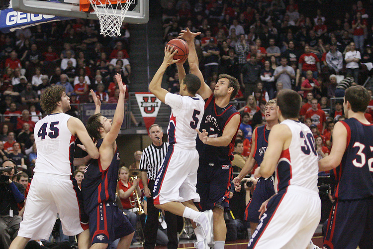 LAS VEGAS, NV - MARCH 8:  Ben Allen during Saint Mary's 81-62 win over the Gonzaga Bulldogs in the championship game of the 2010 Zappos West Coast Conference Basketball Championships on March 8, 2010 at Orleans Arena in Las Vegas Nevada.