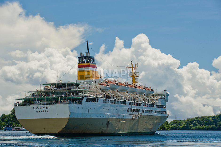 PELNI, the national passenger ferry of Indonesia, departs the Banda islands