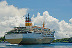 PELNI, the national passenger ferry of Indonesia, departs the Banda islands