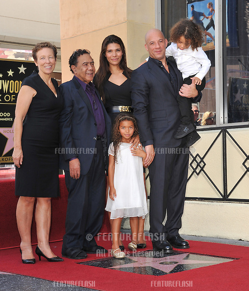 Vin Diesel &amp; family on Hollywood Blvd where he was honored with the 2,504th star on the Hollwood Walk of Fame.<br /> August 26, 2013  Los Angeles, CA<br /> Picture: Paul Smith / Featureflash