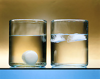 DENSITY: SOLID &amp; LIQUID STATES OF PARAFFIN &amp; WATER<br /> Comparison Of The Liquid And Solid Phases<br /> (left) The solid phase of paraffin is denser than the liquid phase and sinks to the bottom of the container of liquid paraffin. (right) Ice or the solid phase of water is less dense than its liquid phase and floats to the top.