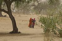 Women in the Thar Desert near Manvar on the way to Jaisalmer, Rajasthan India
