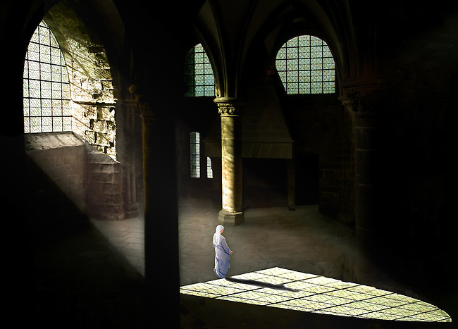 &ldquo;Solitude&rdquo;  Nun in Abbey, Mont Saint-Michel, France&rdquo;   &copy; Don Bierman 2014   Artist Print<br />      (13 test  Adobe RGB 1998 536ppi)