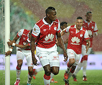 BOGOTA - COLOMBIA -27 -01-2015: Yerry Mina (Cent.) jugador de Independiente Santa Fe celebran el gol anotado al Atletico Nacional, durante partido de vuelta entre Independiente Santa Fe y Atletico Nacional por la Super Liga 2015. / Yerry Mina(C) player of Independiente Santa Fe celebrates a goal scored to Atletico Nacional, during the match between Independiente Santa Fe and Atletico for the second leg of the Super Liga 2015 at the Nemesio Camacho El Campin Stadium in Bogota city. Photo: VizzorImage / Luis Ramirez / Staff.