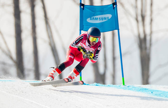 PyeongChang 10/3/2018 - Alexis Guimond skis in the men's standing downhill at the Jeongseon Alpine Centre during the 2018 Winter Paralympic Games in Pyeongchang, Korea. Photo: Dave Holland/Canadian Paralympic Committee