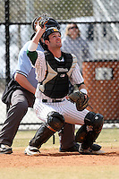 March 17, 2010:  Catcher Justin Kline (25) of North Dakota State University Bison vs. Long Island University at Lake Myrtle Park in Auburndale, FL.  Photo By Mike Janes/Four Seam Images
