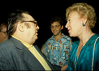 Montreal (QC) CANADA - july  1987 file photo - French comic Raymond Devos at Montreal Juste Pour Rire Festival with Gilbert Rozon (M) and Flora MacDonald,Minister of Communications, Canada (R)